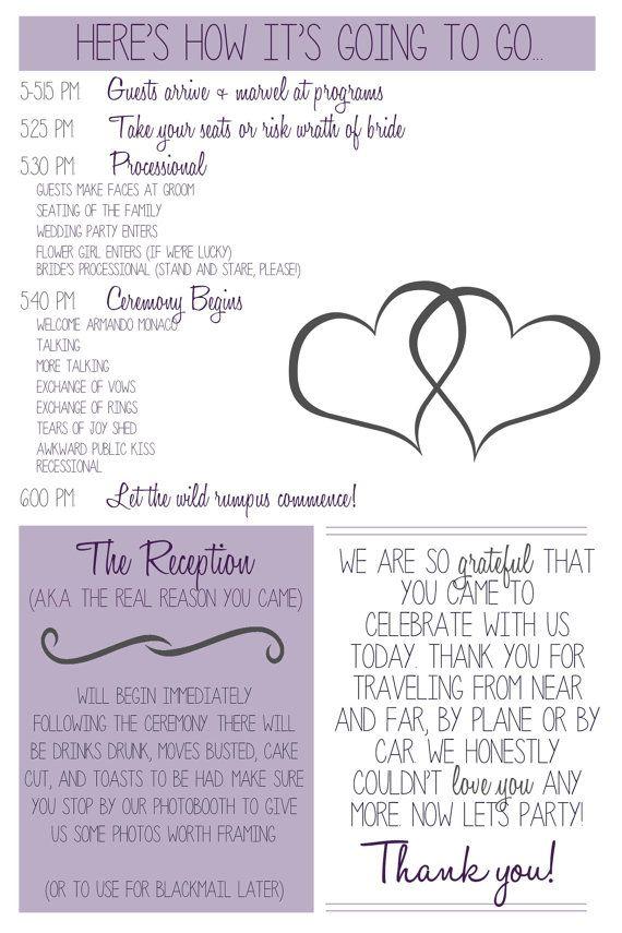 Funny Wedding Program Printable With Hearts By HubPrintableShop