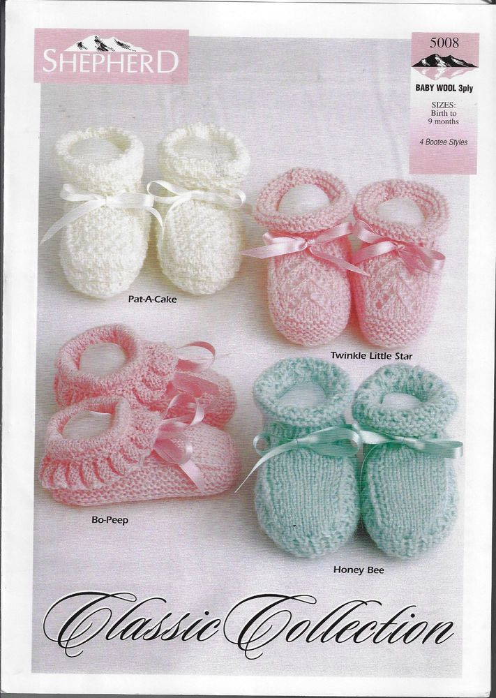62c9eb94c Baby Booties Classic Collection Shepherd 5008 knitting pattern 3 ply ...