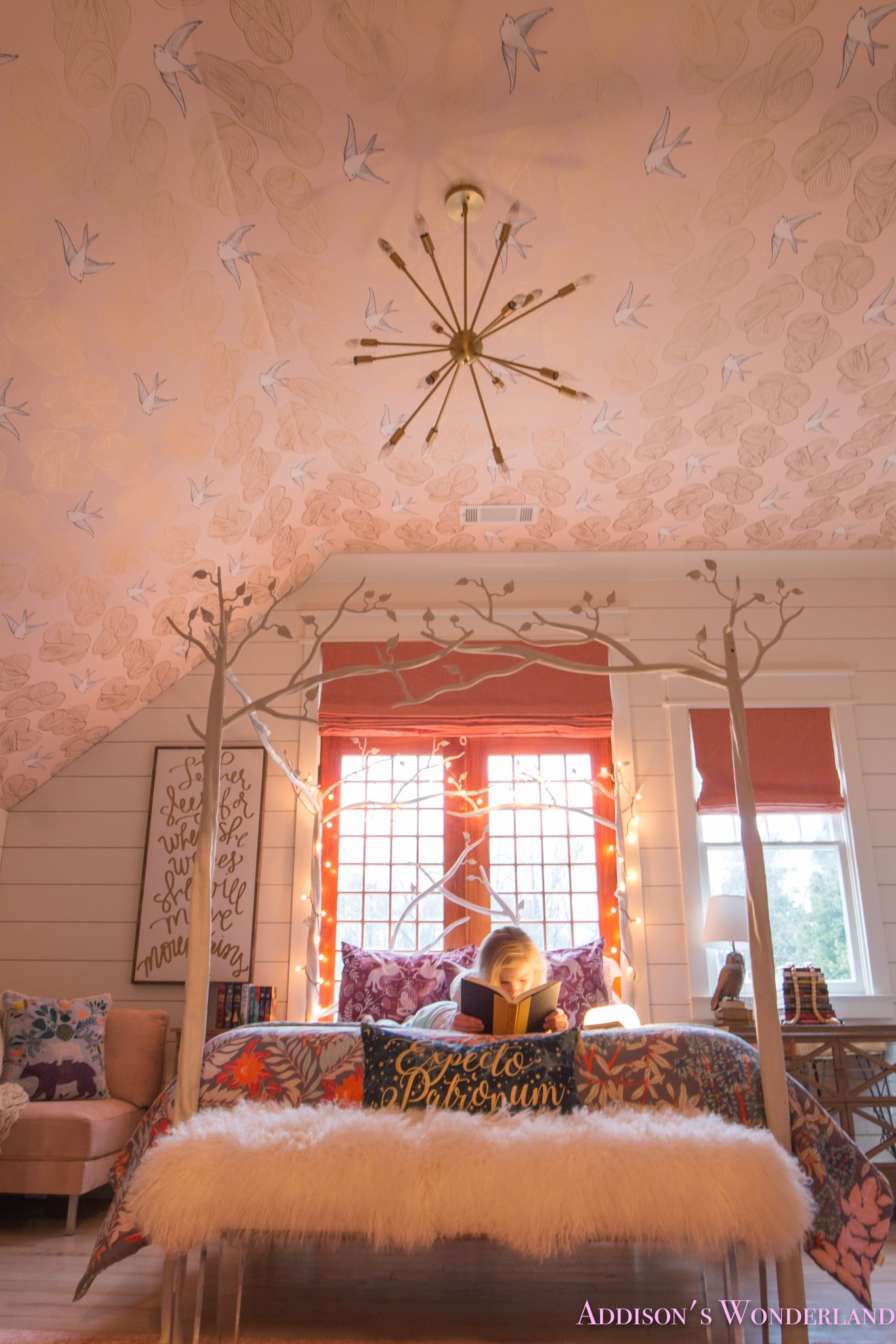 Inside My Daughter S Beautiful Harry Potter Themed Bedroom Daydream Blush Wallpaper Whitewashed Hardwoods Shaw Muirs Park Bridal Veil Wallpapered Ceiling