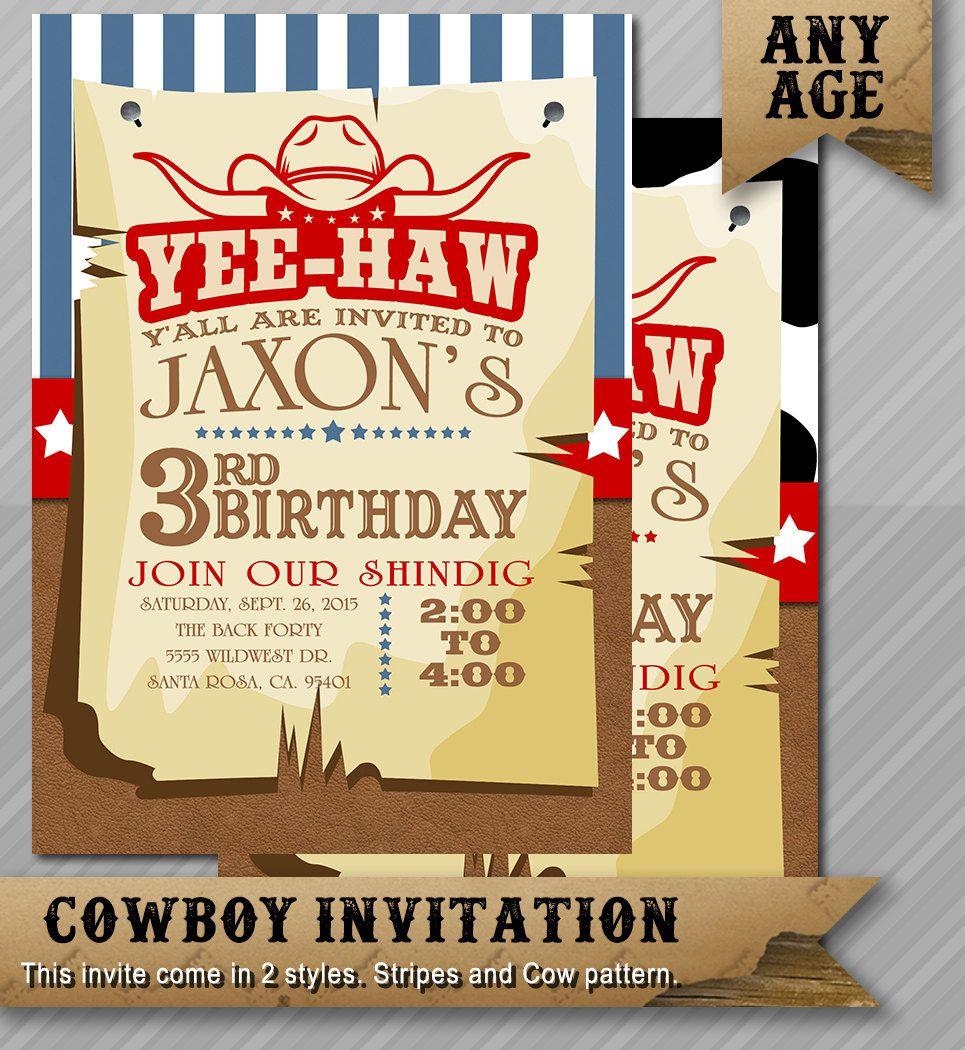 Western Birthday Invitation Cowboy Birthday Cow Boy Invite