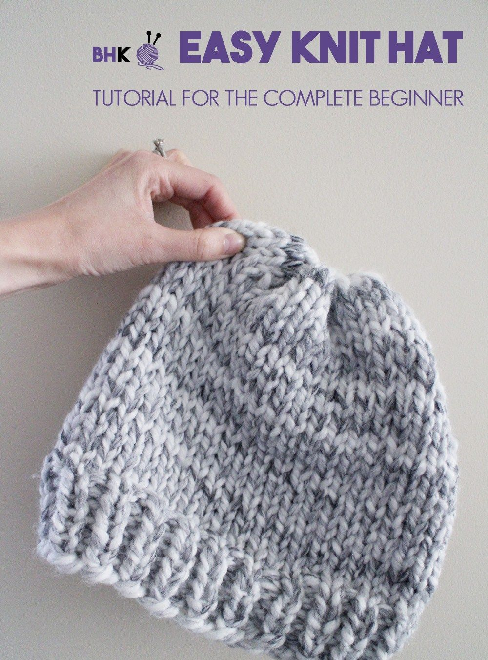 Easy Knit Hat How To Knit A Hat For Complete Beginners Easy Knit Hat Knit Hat Pattern Easy Knitting Patterns Free Hats