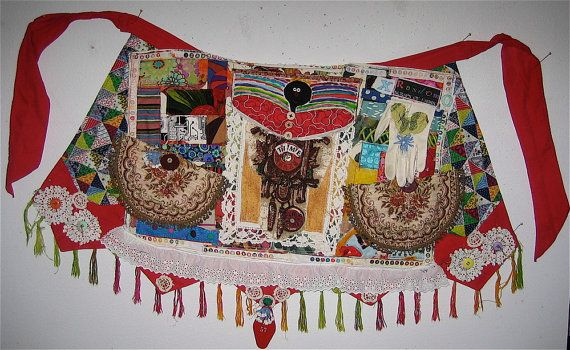 Wearable Folk Art Collage APRON Fabric Random Scraps mybonny