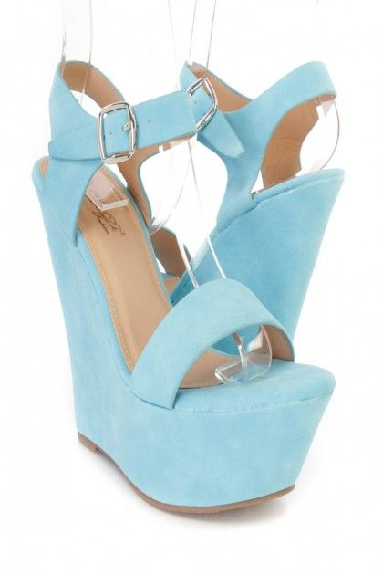 d77db7bbefa7 Blue Ankle Strap Wedges Faux Leather