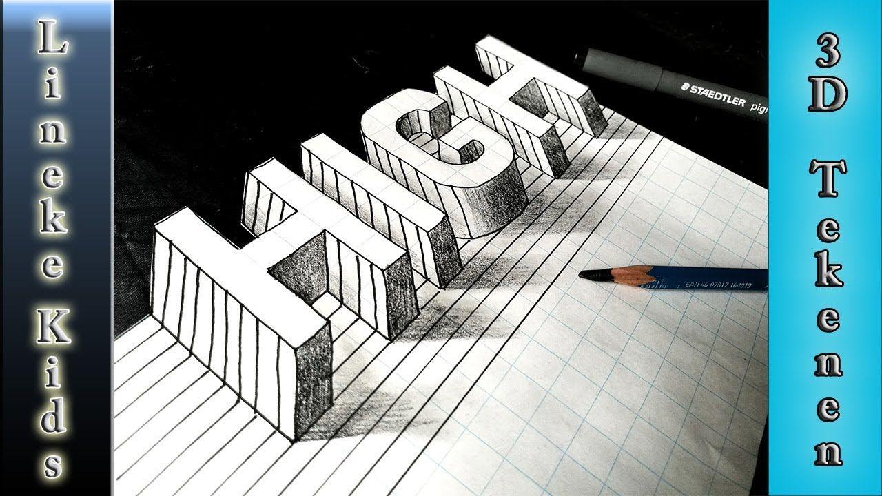 Verbazingwekkend 3D tekening in stappen! Hoge 3d letters tekenen makkelijk voor WG-16