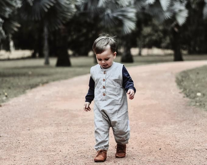 Linen Henley Romper with wooden buttons. Handmade children's clothing and formal wear by EdmundAndRose