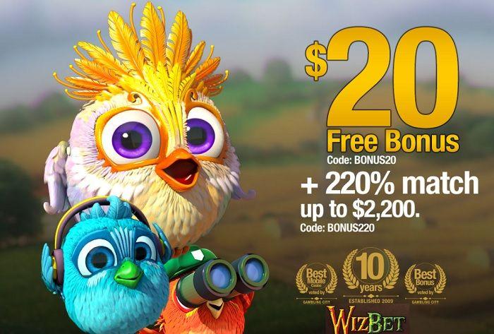 WizBet casino $20 free and 220% match bonus