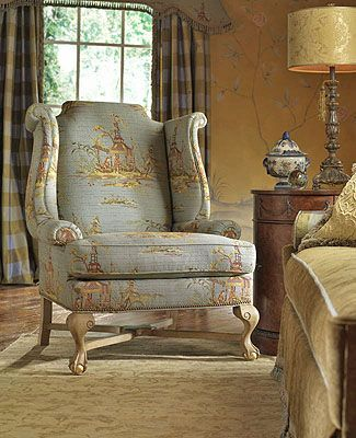 Highland House Furniture 901 Earl Wing Chair Checks And Toile
