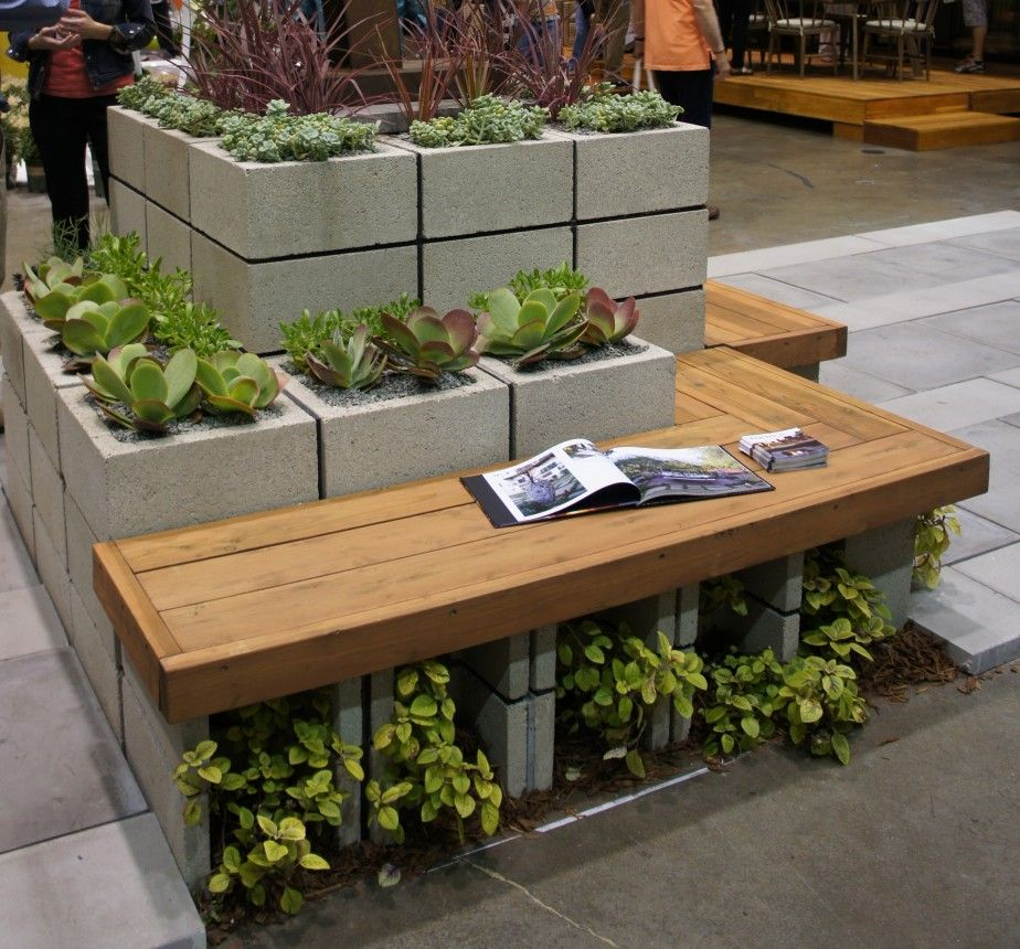 comely garden landscaping ideas 2. Garden  Comely Picture Of Decorative Stacked Light Gray Cinder Block Planters As Accessories