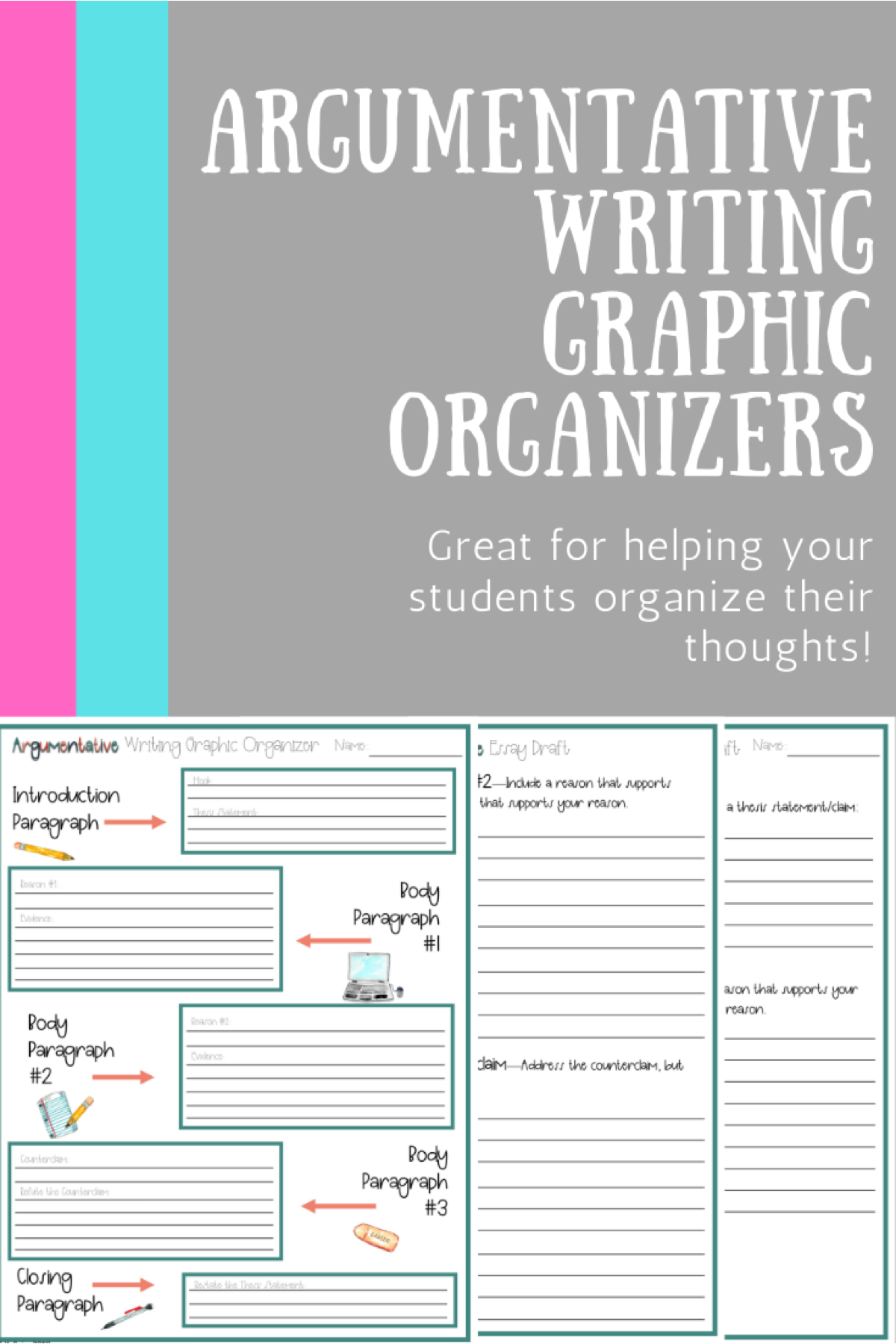 Argumentative Essay Writing Graphic Organizers 6th 12th