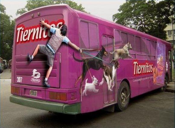 Креативная реклама на автобусах.(26 фото) | Наклейки на ...