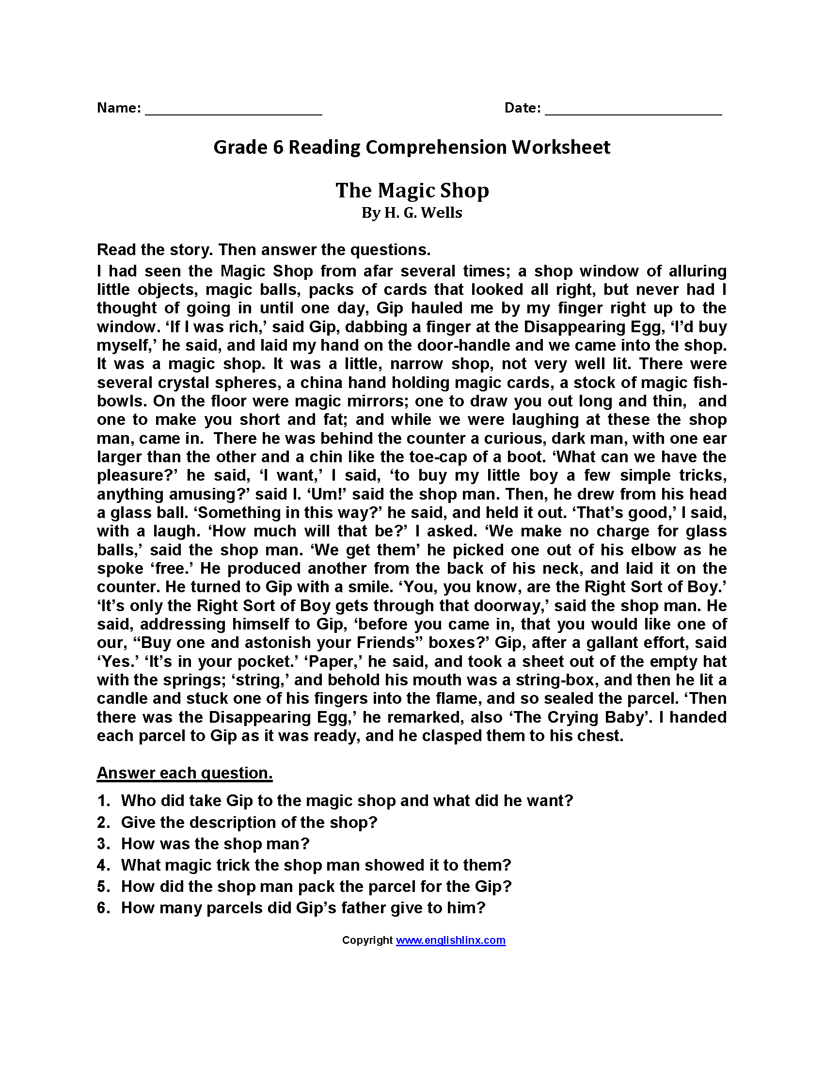 Reading Worksheets   Sixth Grade Reading Worksheets   Comprehension  worksheets [ 2200 x 1700 Pixel ]