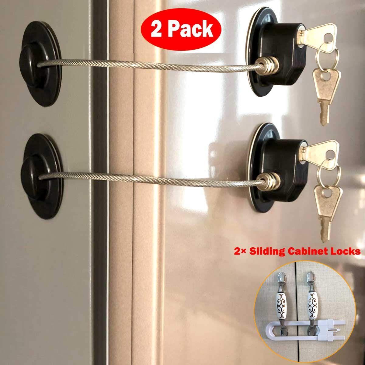 Refrigerator Door Locks 2 Pack Black Mini Fridge Lock File Cabinet Lock Drawer Lock Lock For Cabinet Child Saf Cabinet Locks Fridge Lock Black Mini Fridge