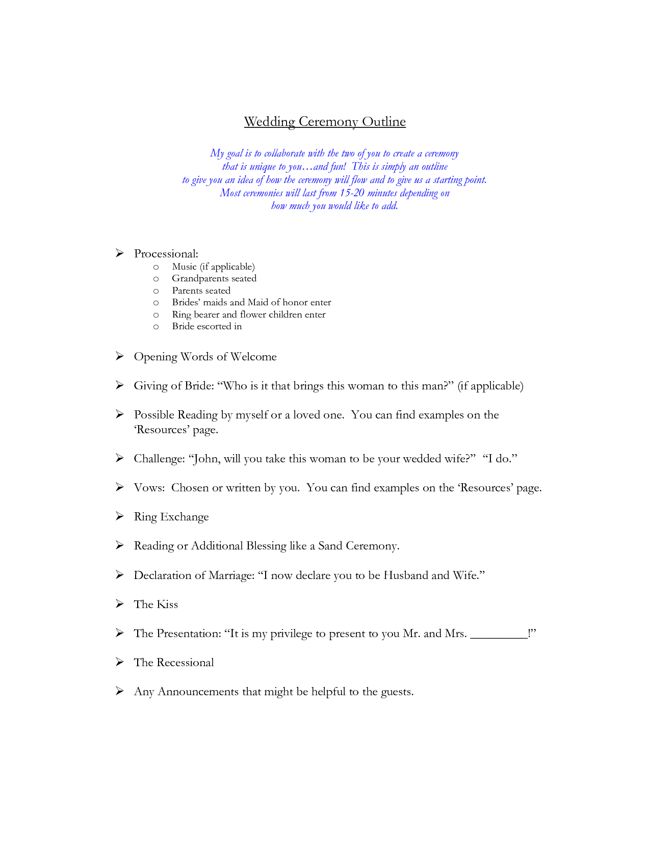 Wedding Ceremony Outline More