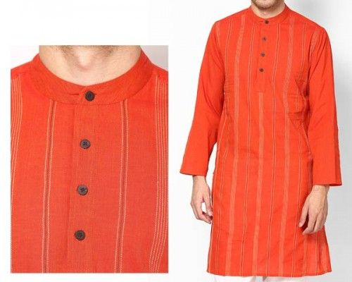 Celebrate our country's independence by flashing this stylish saffron kurta on as you waltz around town.  This kurta has been crafted from 100% cotton yarn for ultimate comfort and to ensure that it doesn't bite into your skin. It's machine washable so you can wear it hassle-free for years to come.