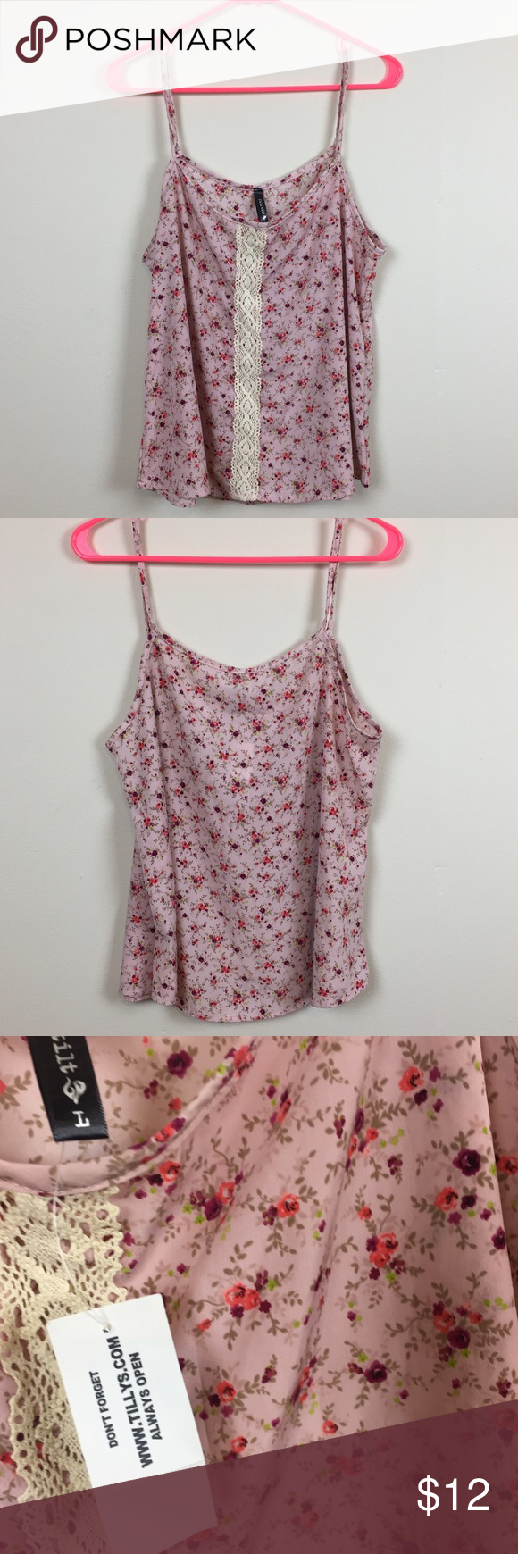 Full Tilt Floral Top Pretty pink and purple tank top with lace down the middle in the front. NWT. any questions please let me know Full Tilt Tops Tank Tops