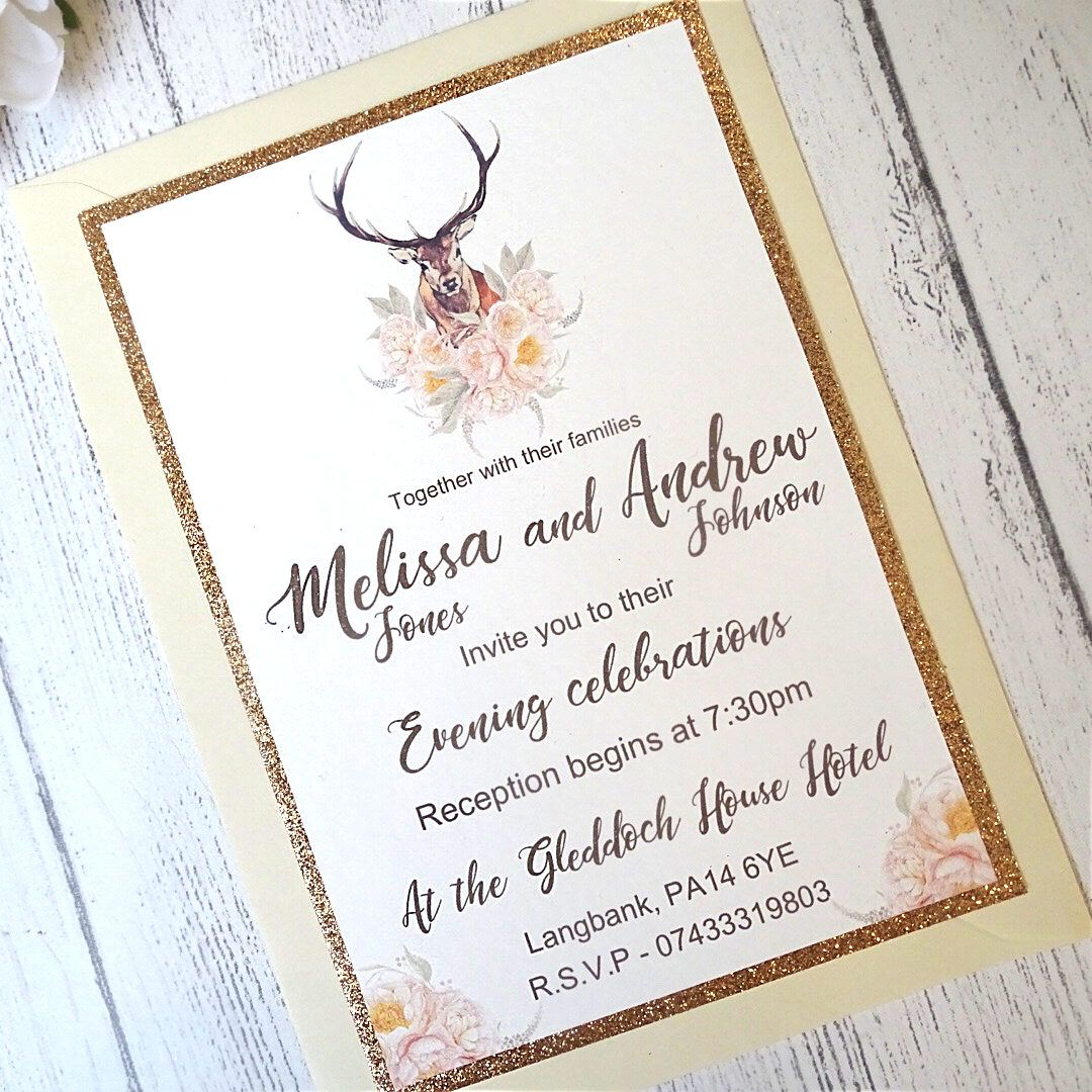 Vintage Stag Rose Gold Glitter Evening Wedding Invitation, Glitter ...