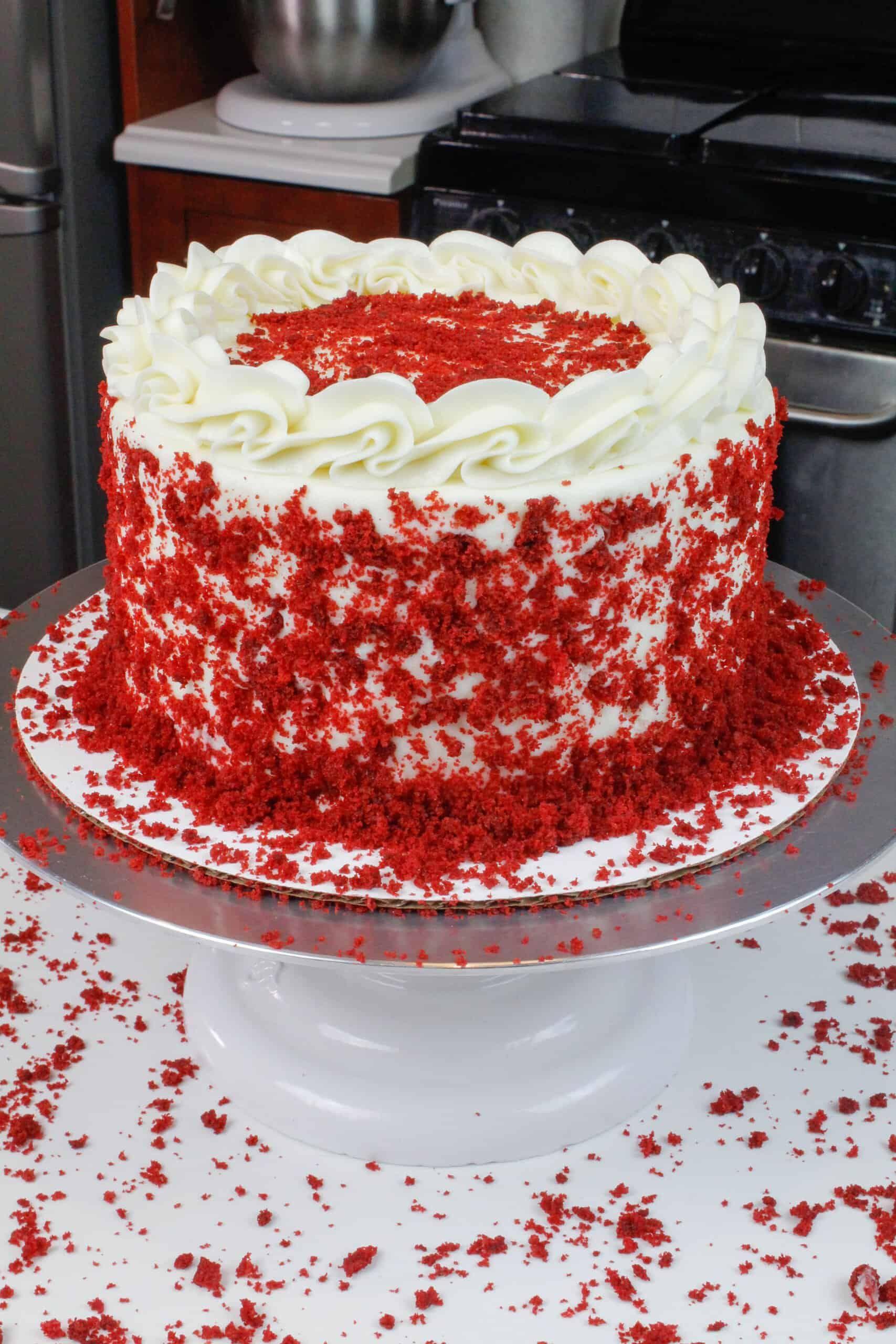 Red Velvet Layer Cake With Cream Cheese Frosting Recipe In 2020 Velvet Cake Recipes Red Velvet Cake Recipe Cake With Cream Cheese