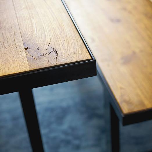 West Elm Industrial Oak + Steel Dining Table | Steel Dining Table,  Industrial And Restaurant Seating