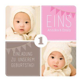 Susse Einladungskarte Zum 1 Geburtstag Fur Zwillinge In Rosa Und