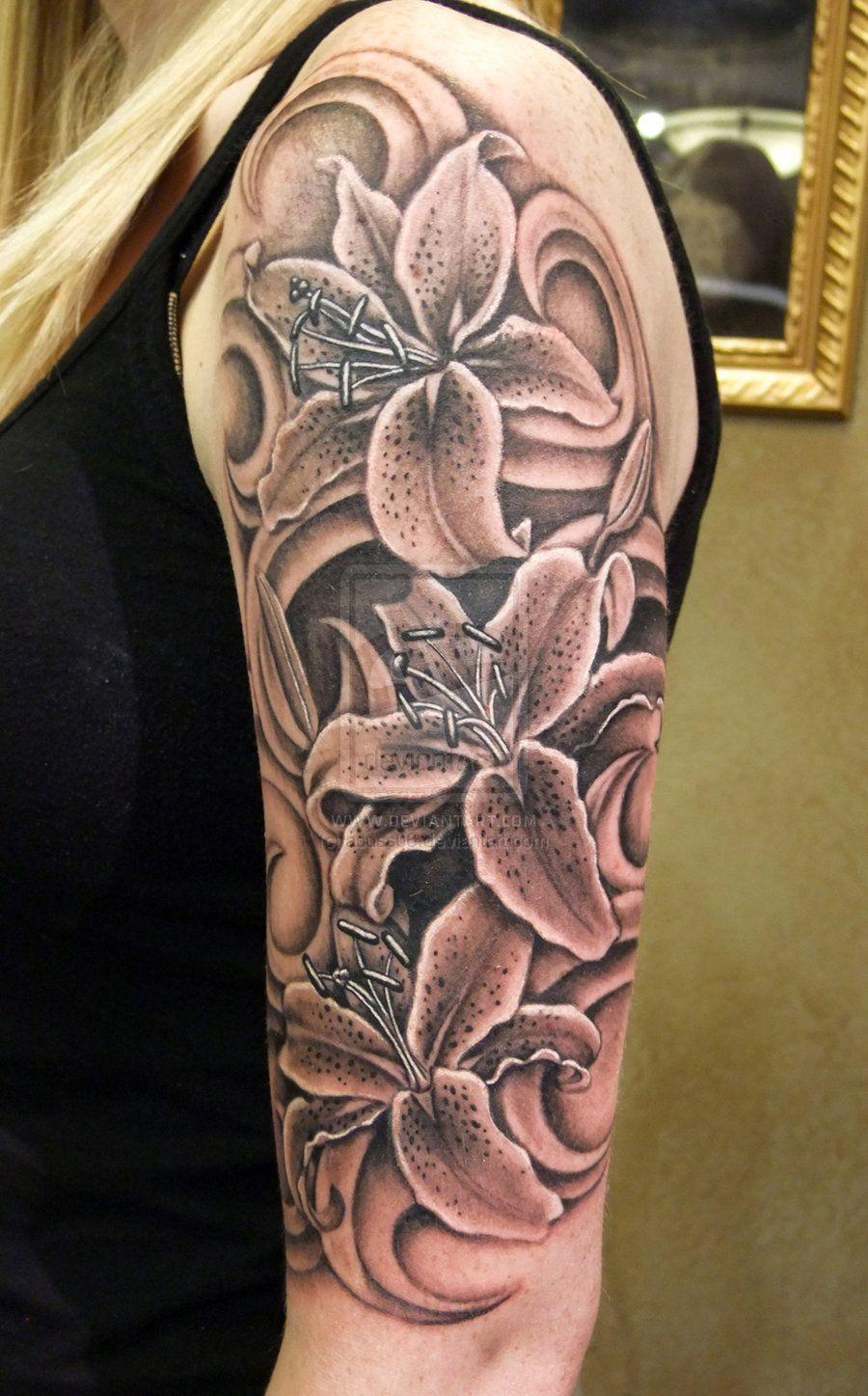 Black N Grey Lilies By Asuss06deviantartcom Tattoopiercing