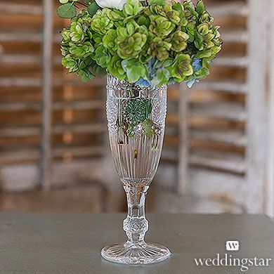 Vintage Inspired Pressed Glass Flute in Clear