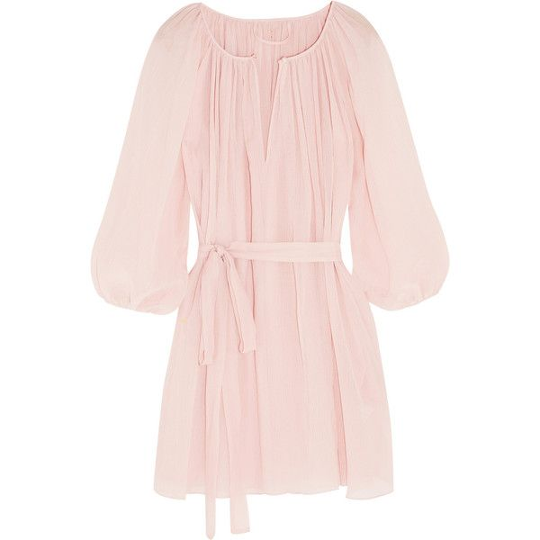 Marysia El Matador plissé cotton and silk-blend voile tunic (€325) ❤ liked on Polyvore featuring tops, tunics, dresses, pink, marysia swim, pink top, keyhole top, pink tunic and scalloped top