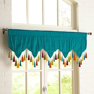 Set Off Your Window With Our Handcrafted Valance In Bright Teal