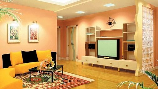 orange paint color living room with modern ceiling design | 15 Latest Hall Colour Designs With Pictures In 2020 | Hall ...
