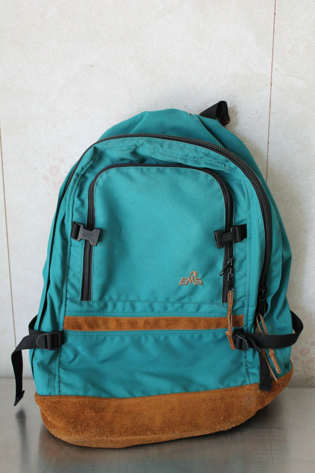 Classic Vintage EMS Backpack Hiking Day Pack Leather Bottom, Used ...