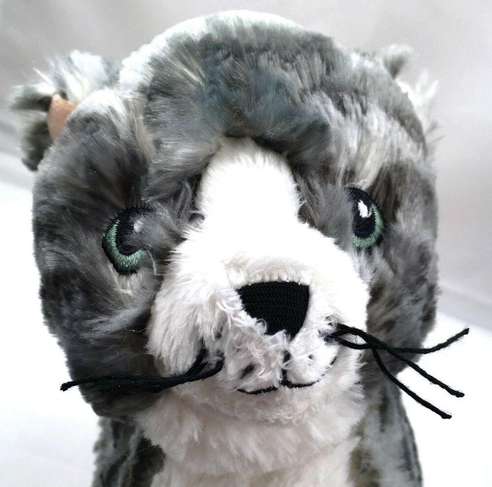 Ikea Gray White Kitten Plush Tabby Cat Stuffed Animal Kitty