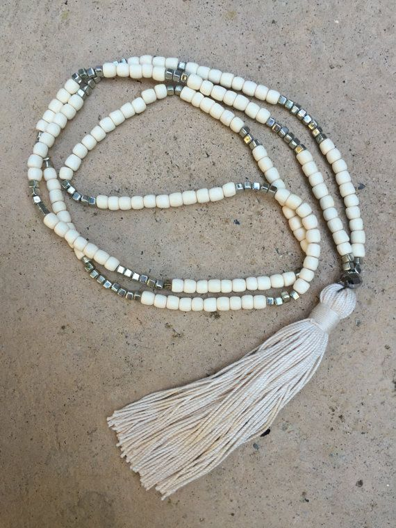 Bohemian / Boho necklace, tassel necklace, mala beads, yoga necklace, white and silver with natural tassel
