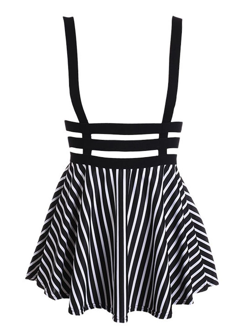 d7279e54a05 Black and White Stripe Lattice Cut Out High Waisted Shoulder-straps Overall  Skirt