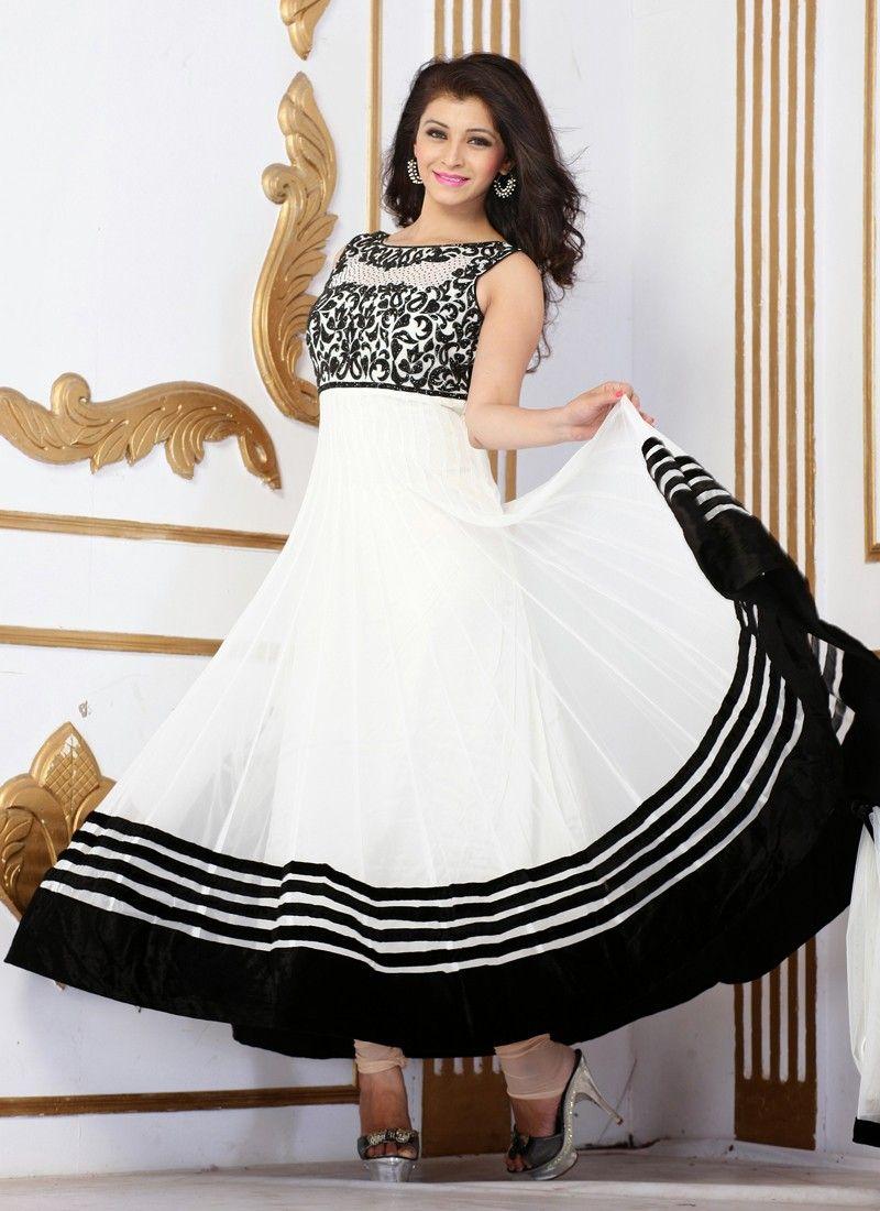 Long churidar anarkali white dresses
