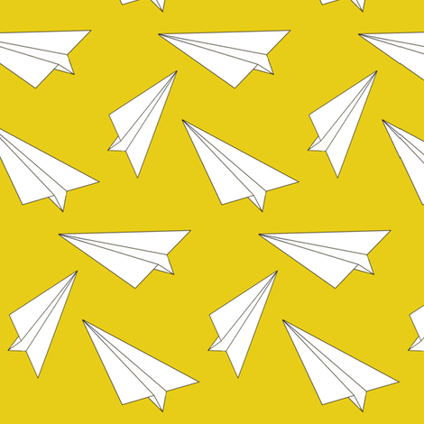 Colorful Fabrics Digitally Printed By Spoonflower Yellow Paper Plane Elvelyckan Paper Plane Yellow Paper Airplane Fabric