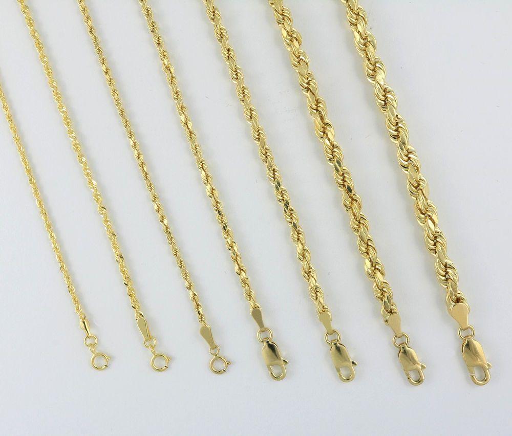 Real 14k Yellow Gold Genuine 1 5mm Rope Chain Necklace Bracelet Men Women 7 32 Bracelets For Men Chain Necklace Womens Gold Bracelet For Women