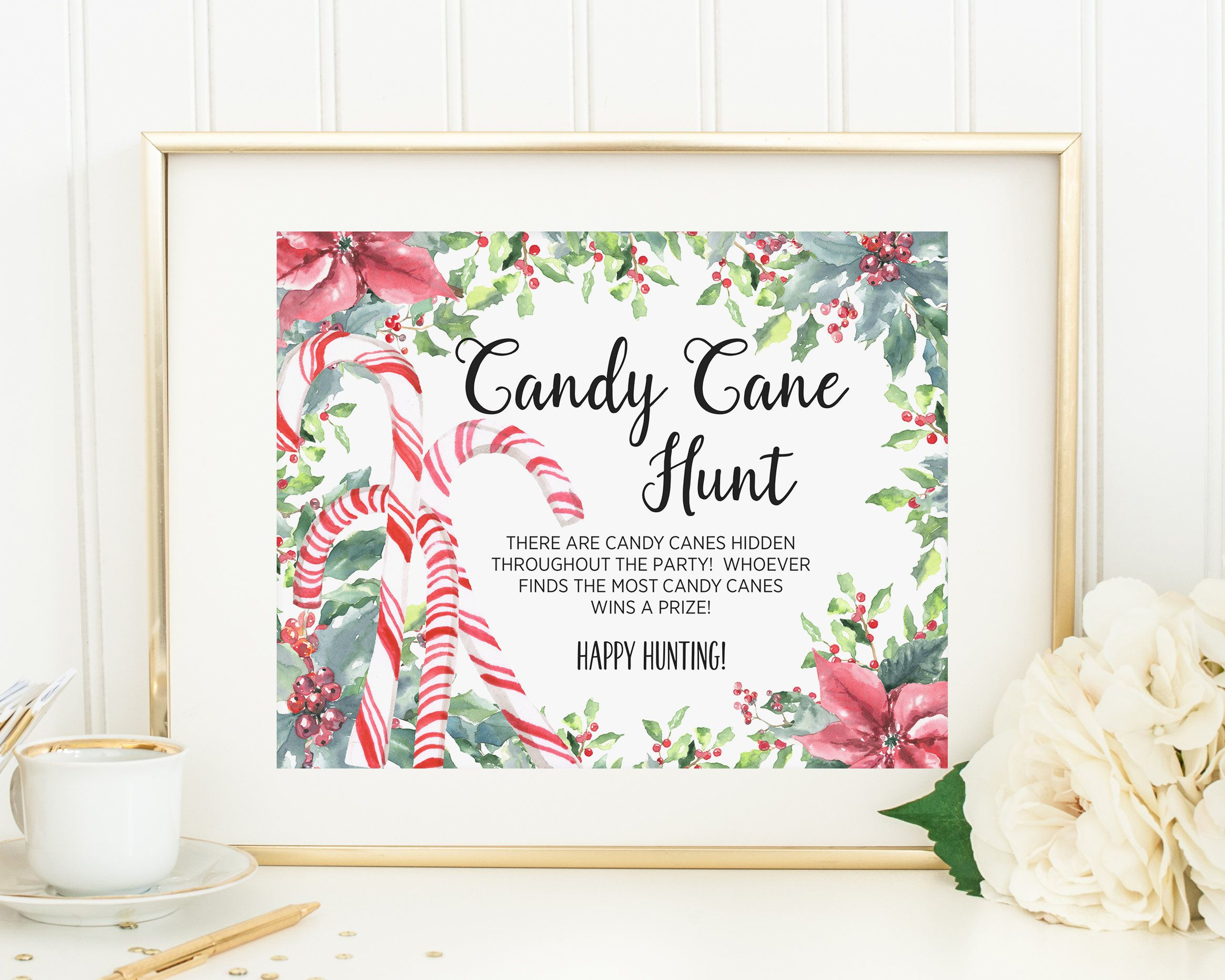 PRINTABLE Candy Cane Hunt, Christmas Party Scavenger Hunt