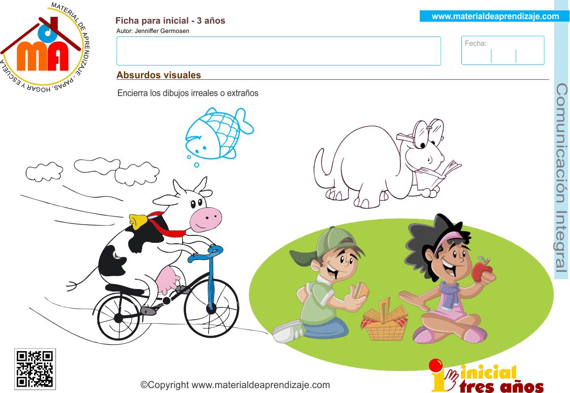 Absurdos Visuales Comunicacion Integral 3 Anos Material De Aprendizaje Absurdos Visuales Actividades Absurdos Verbales
