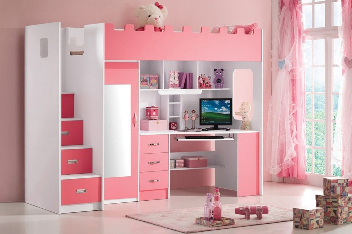 Chambre fille avec lit combiné 90x200 armoire blanc et rose