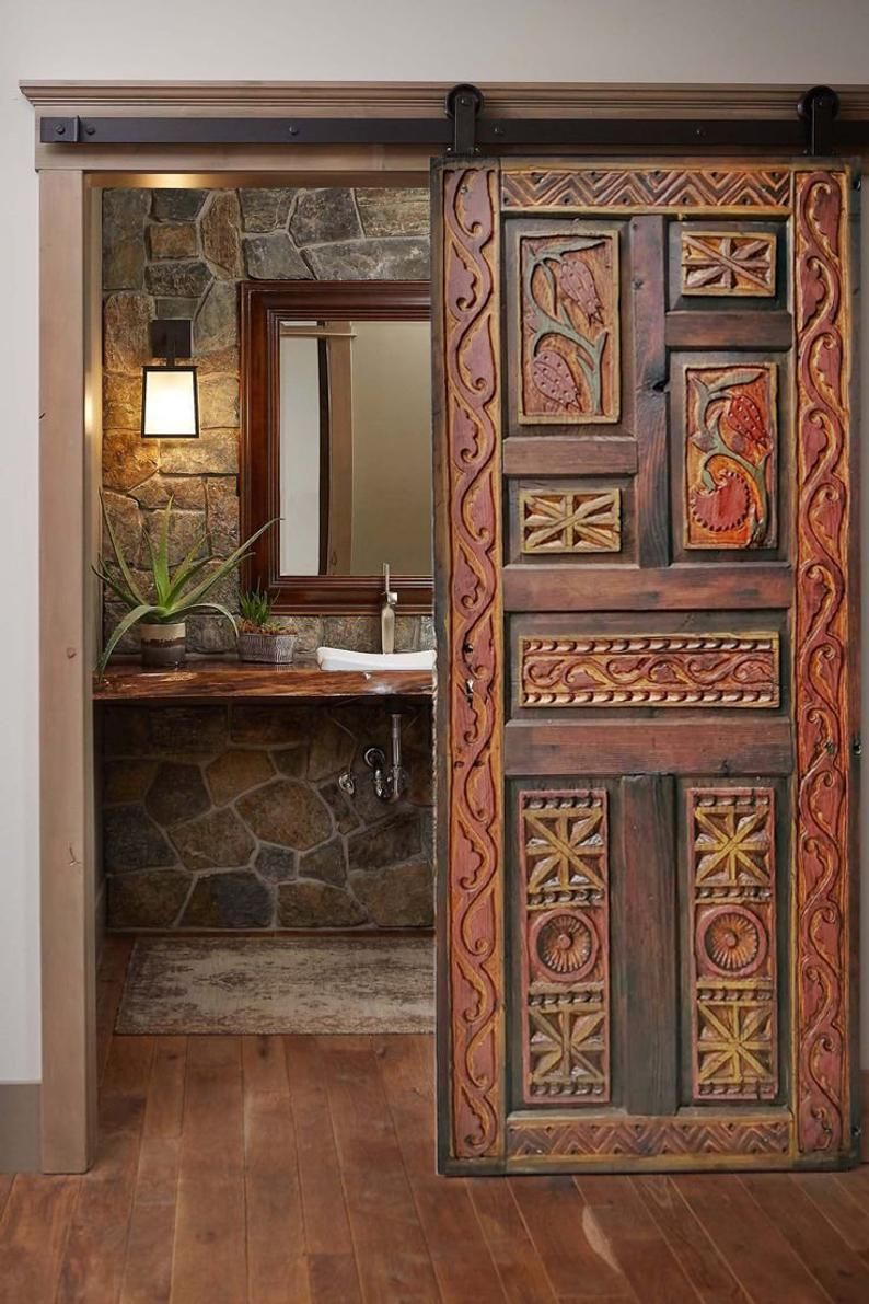Hand-Carved Rustic Barn Door, Custom Size Entrance Front, Do…
