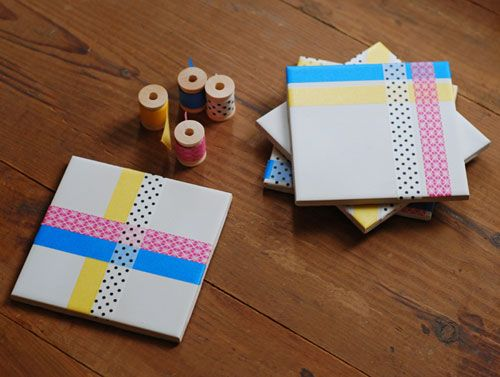 DIY : Washi Tape Tile Coasters