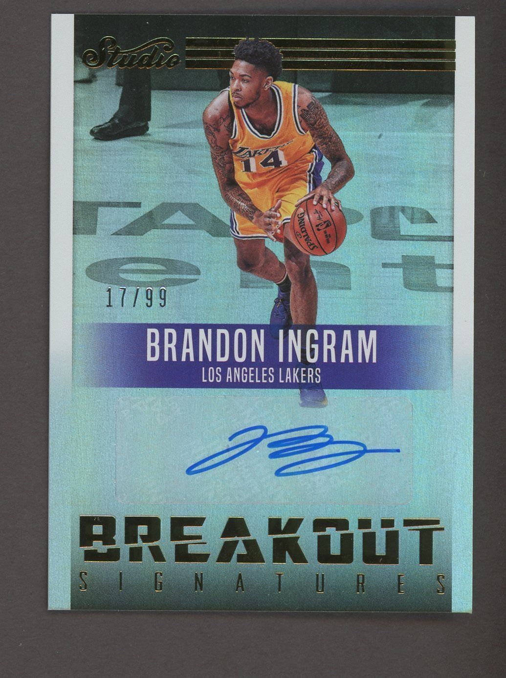 ccffc258b5b 2016-17 Panini Studio Breakout Signatures Brandon Ingram Lakers RC AUTO 17 99   BasketballCards