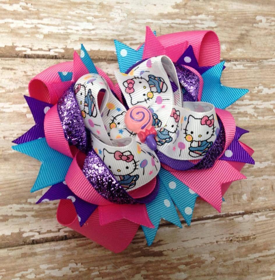 Hello kitty lollipops hair bowturquoise hot pink purple ott