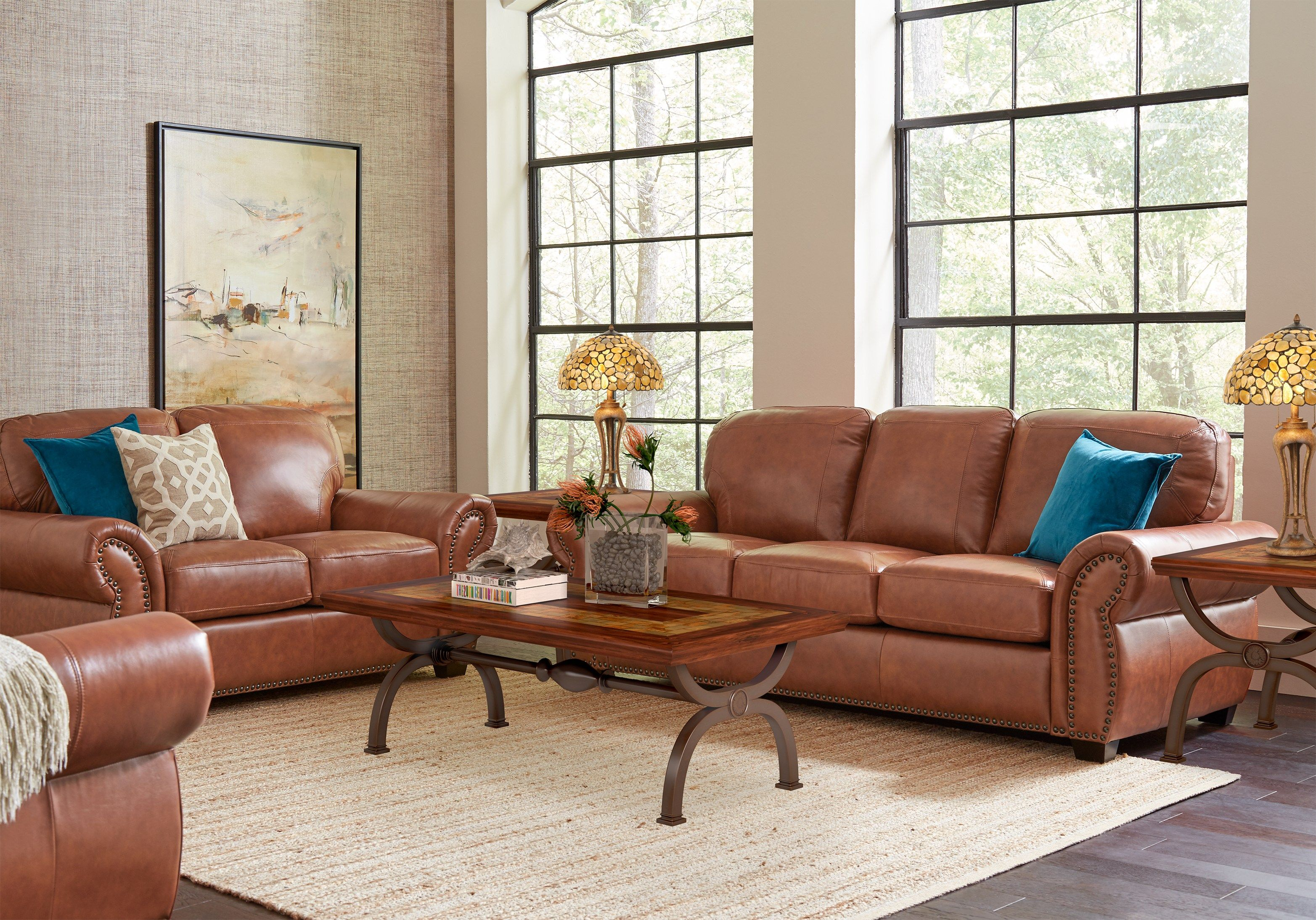 Balencia light brown leather 5 pc living room brown
