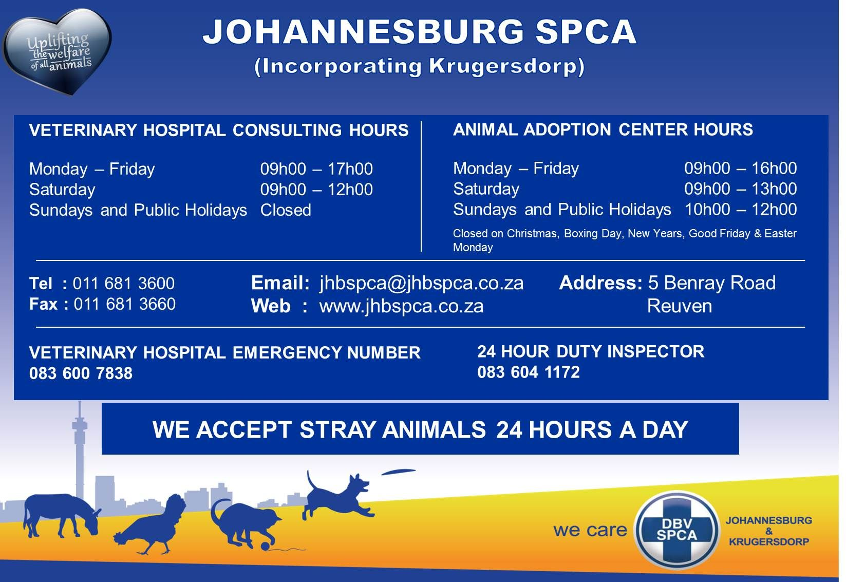 Johannesburg Spca Operating Hours And Contact Details Pet Adoption Center Veterinary Hospital Spca