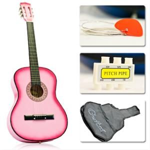 Best Choice Products 38in Beginner Acoustic Guitar Starter Kit W Case Strap Digital Tuner Strings Pink Walmart Com Acoustic Guitar Guitar Guitar Diy