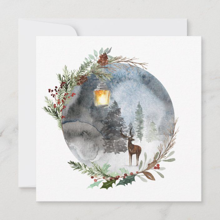 Winter Reindeer Lantern Christmas Greeting Cards