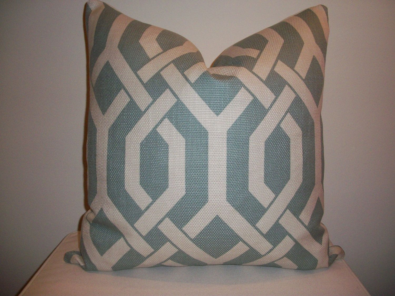 Designer Geometric Pillow Cover 20 x 20 Sky Blue and Beige Lattice Print - Decorative Throw Pillow (more sizes available). $38.00, via Etsy.