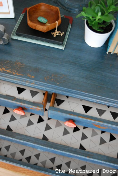 Soldier Blue Dresser With Orange Knobs Drawers Lines With