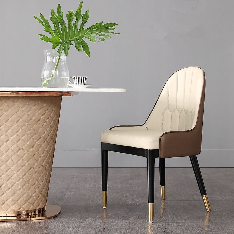 Beige Brown Faux Leather Dining Chair