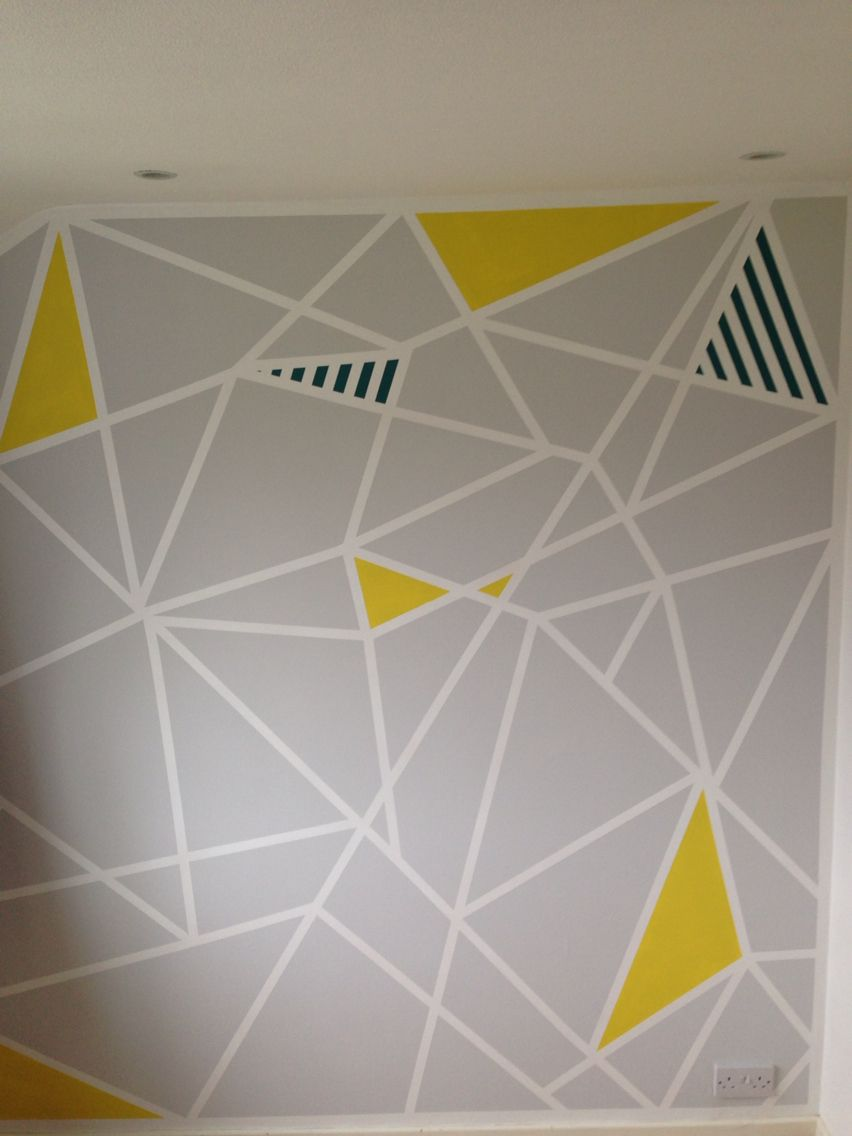Geometric paint design on study feature wall. Frog tape ...